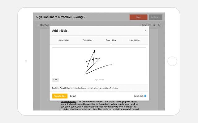 Electronic signature (e-signature) example