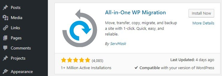 Installing the All-In-One WP Migration plugin.