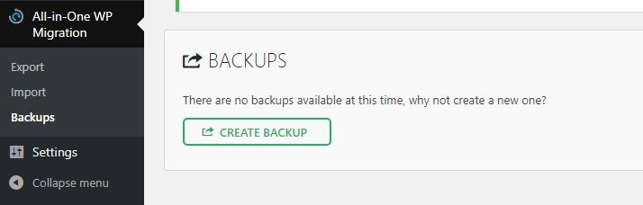 Creating a new backup for your website.