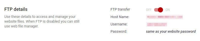 Your FTP details.