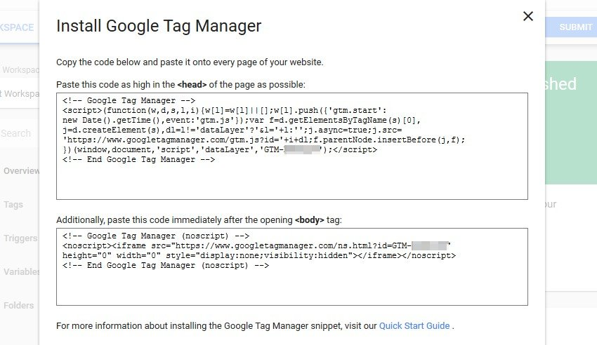 Your Google Tag Manager integration code.