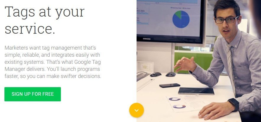 The Google Tag Manager homepage.