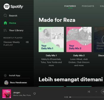 beginilah cara mendengarkan musik spotify melalui browser pc