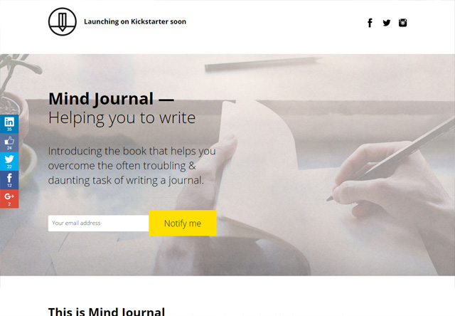 Coming soon page of Mind Journal