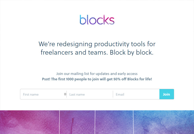 Coming soon page of Blocks