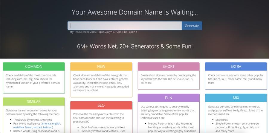 Screenshot of Name Mesh domain name generator 2018