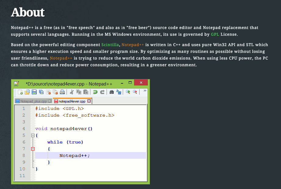 Screenshot of Notepad++ HTML editor 2018
