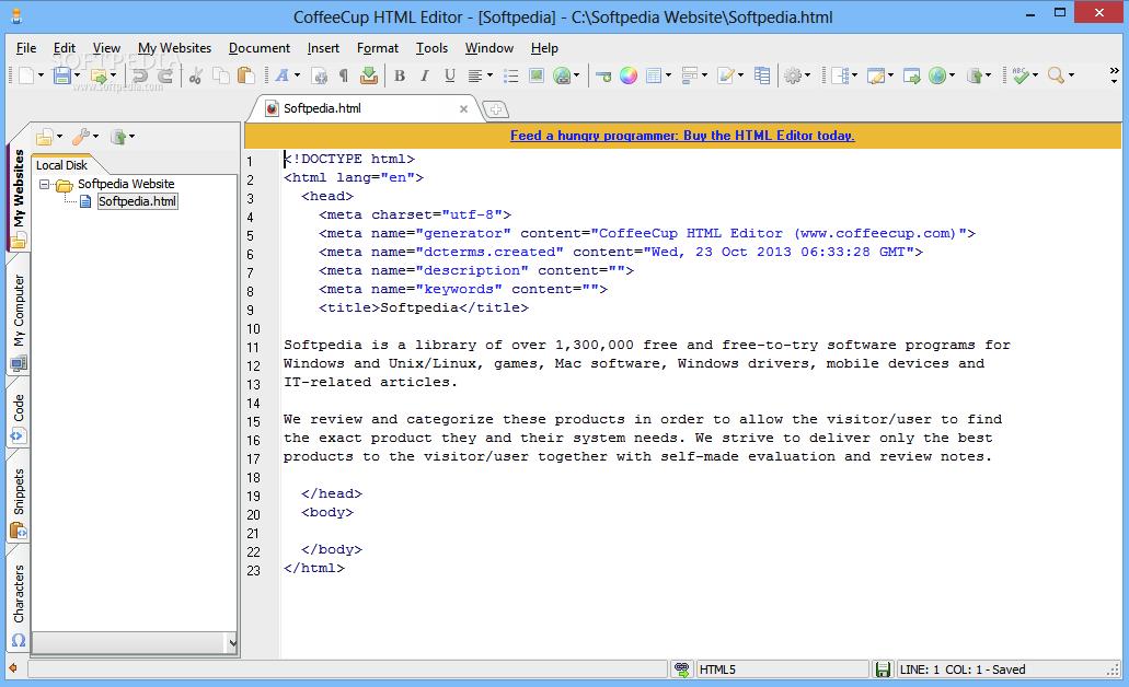 Screenshot of CofeeCup HTML editor 2018