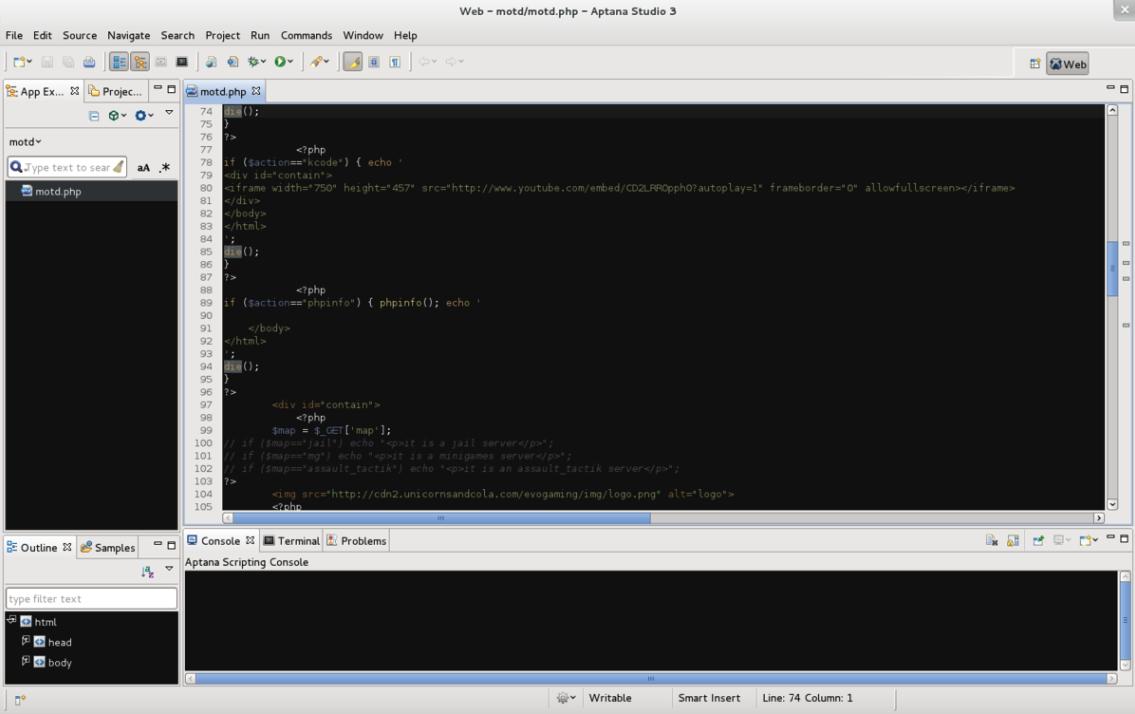 Screenshot of Aptana Studio 3 HTML editor 2018