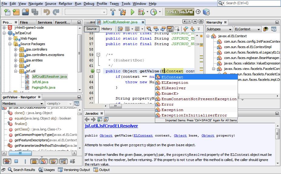 Screenshot of NetBeans HTML editor 2018