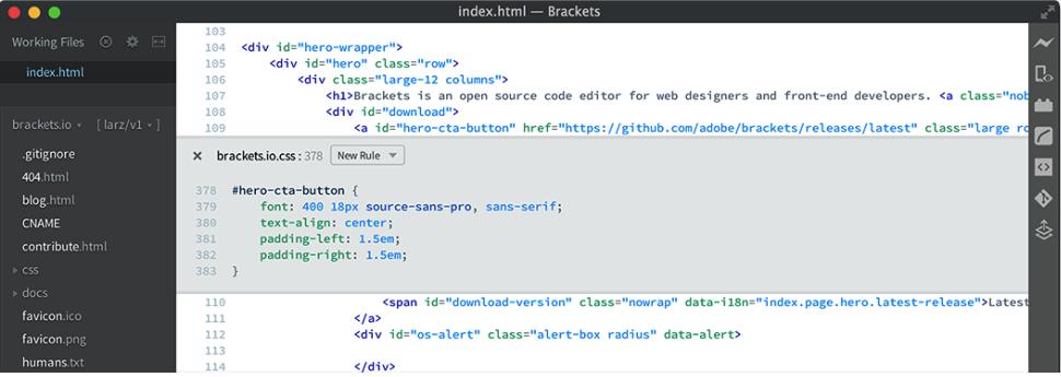 Screenshot of Brackets HTML editor 2018