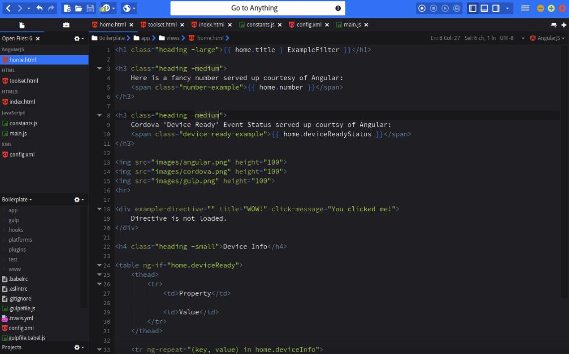Screenshot of Komodo Edit HTML editor 2018