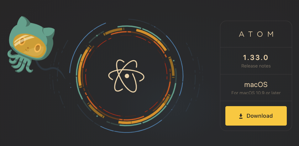 Screenshot of Atom HTML editor 2018