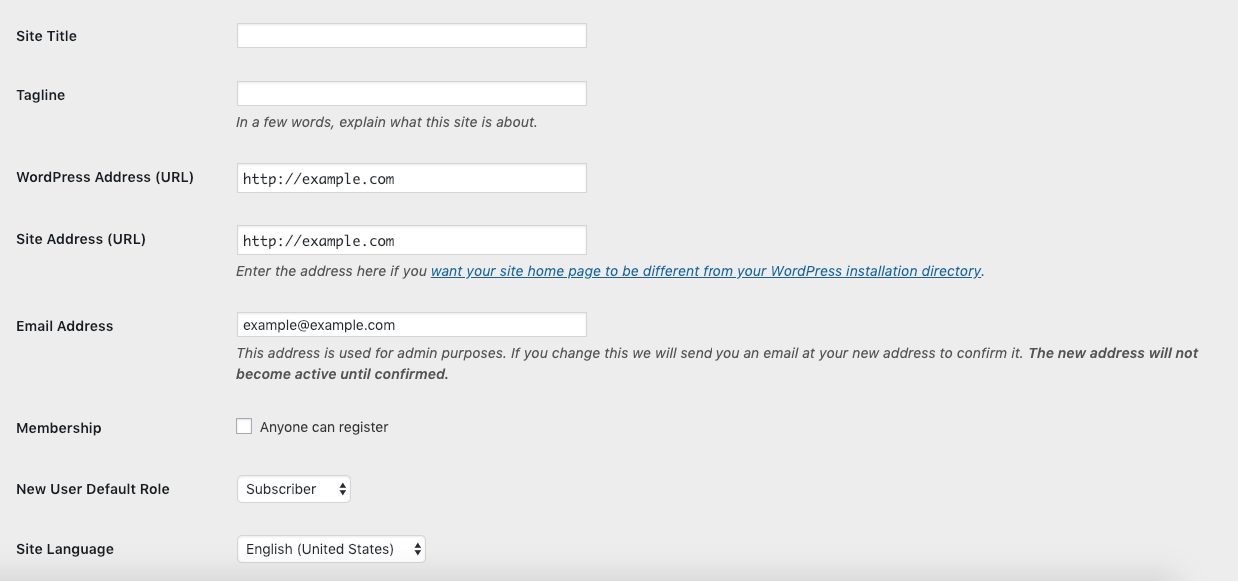 Screenshot of WordPress URL settings. Fixing redirects error