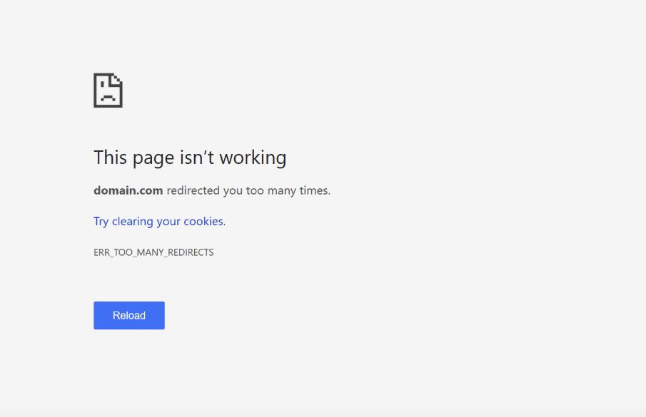 Screenshot of redirects error ERR_TOO_MANY_REDIRECTS