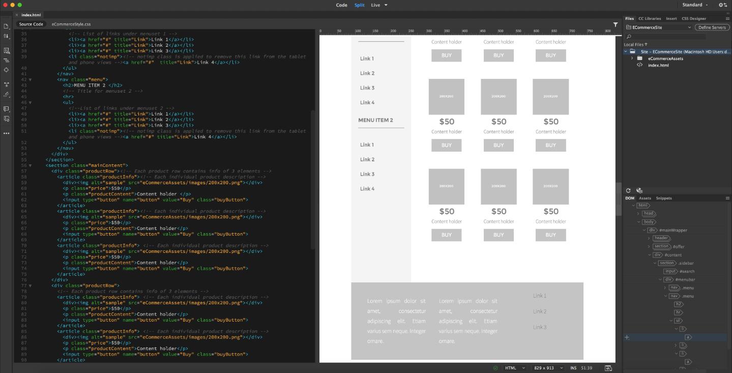 Adobe Dreamweaver website design software
