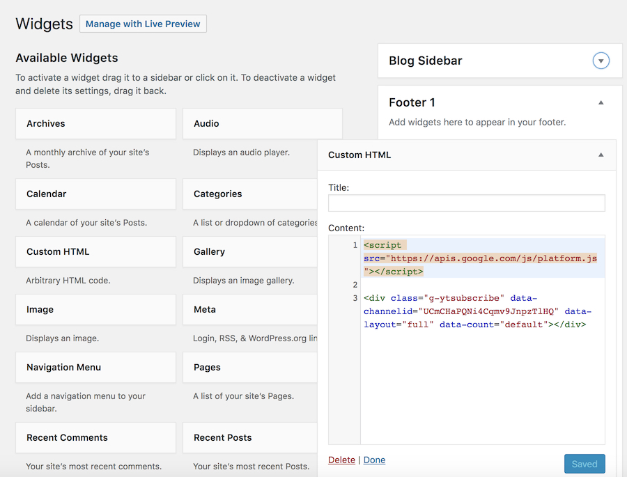 Paste the code in custom HTML content area