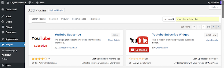 YouTube subscribe plugin activated