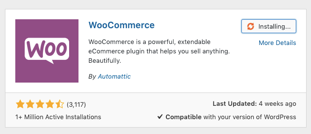 Screenshot of WooCommerce plugin
