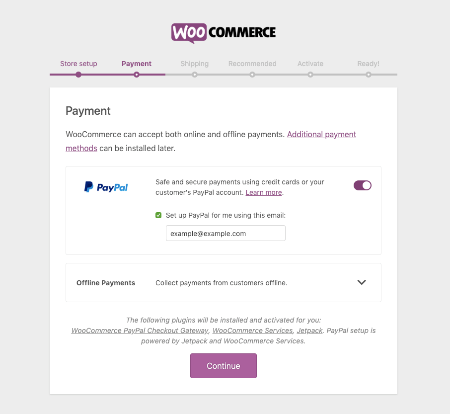 Setting up a payment method with WooCommerce