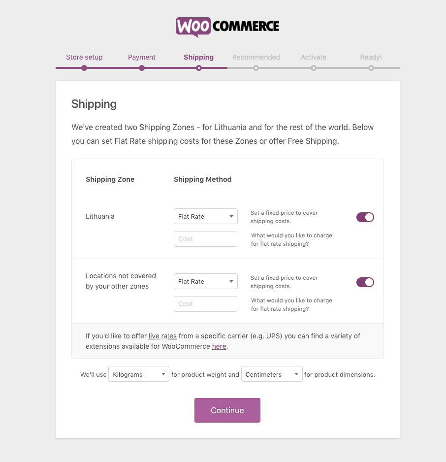 Setting up shipping details with WooCommerce