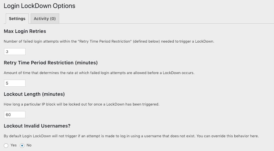 Login Lockdown Plugin Settings WordPress Security