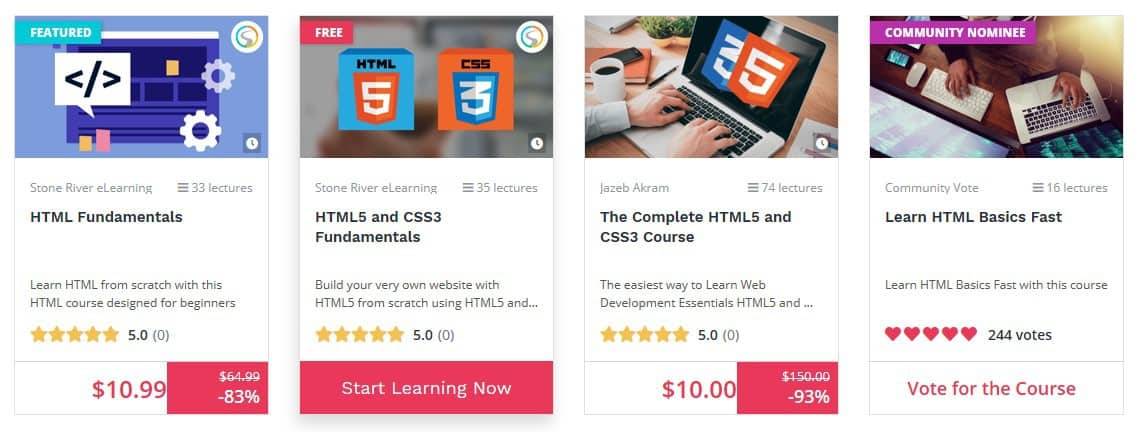 BitDegree HTML courses