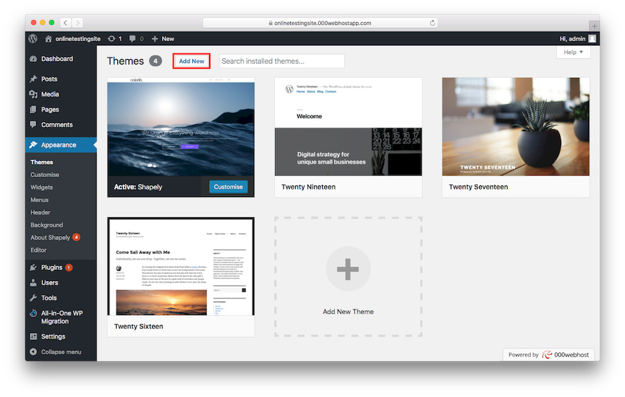 Adding New WordPress Theme
