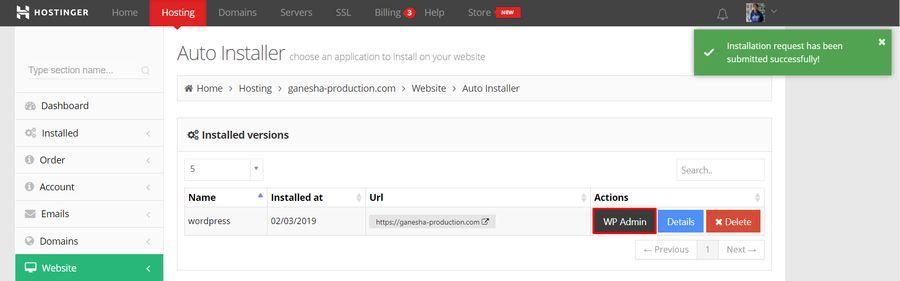Successful WordPress installation on hPanel