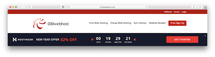 Free sign up button on 000webhost.com