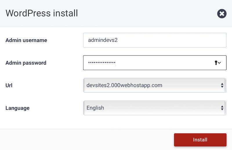 Wordpress installation form