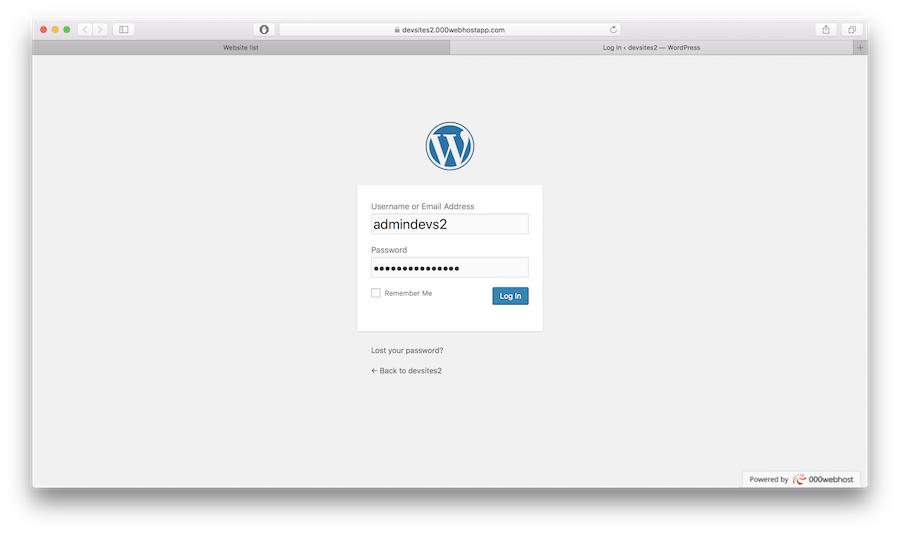 WP login form