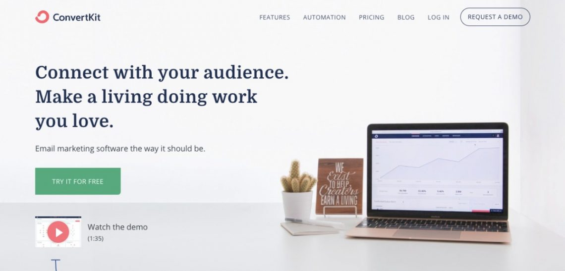 ConvertKit email marketing service homepage