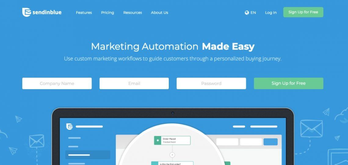 SendinBlue email marketing service homepage
