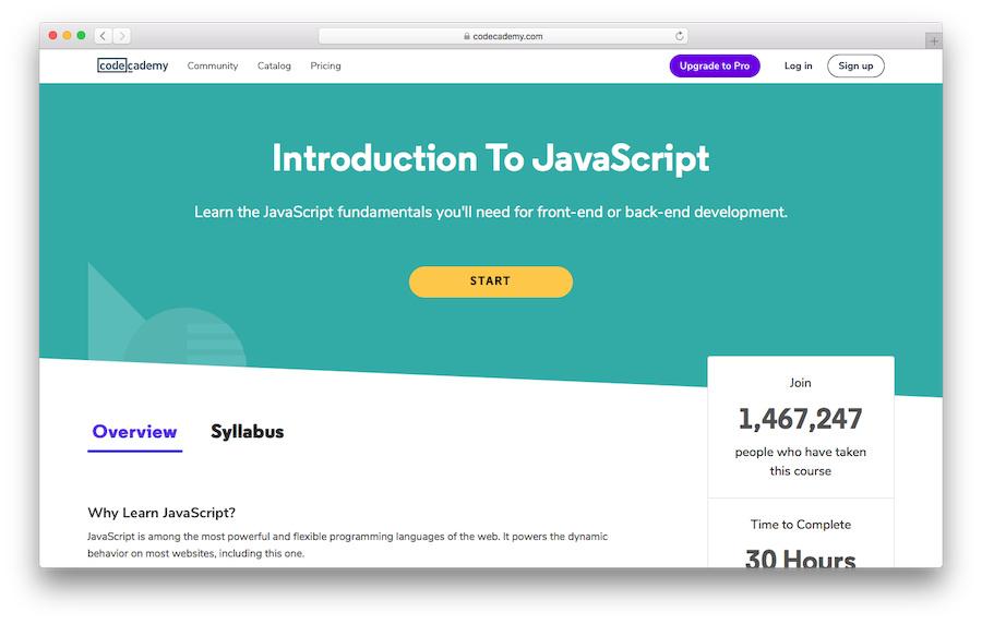 Learn JavaScript with Codeacademy