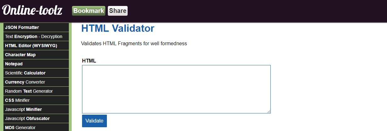 Online Toolz HTML Validator