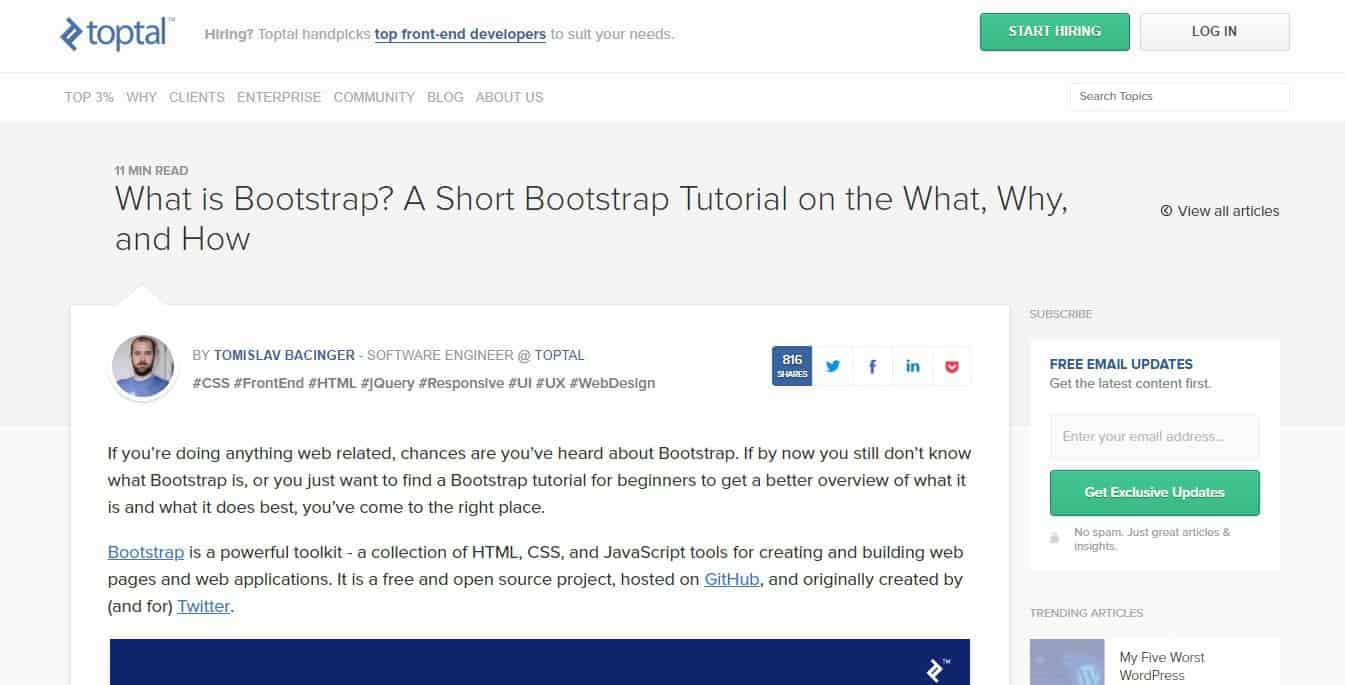 written bootstrap tutorial by toptal