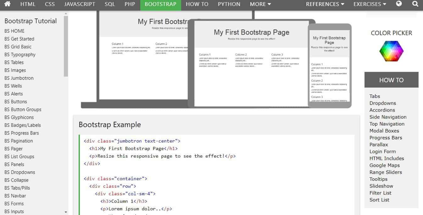 w3schools bootstrap tutorials