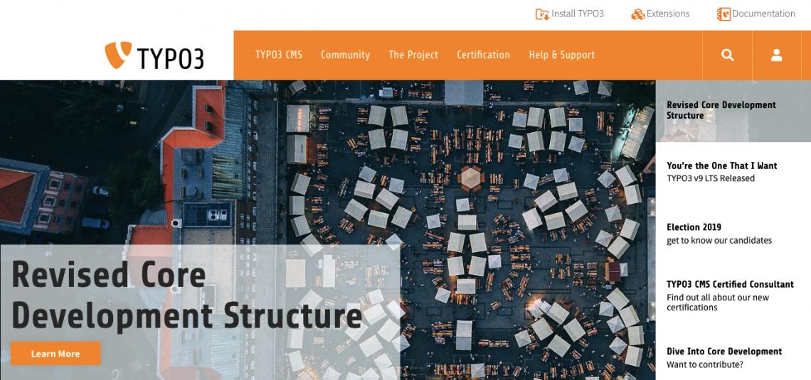 Typo3 homepage