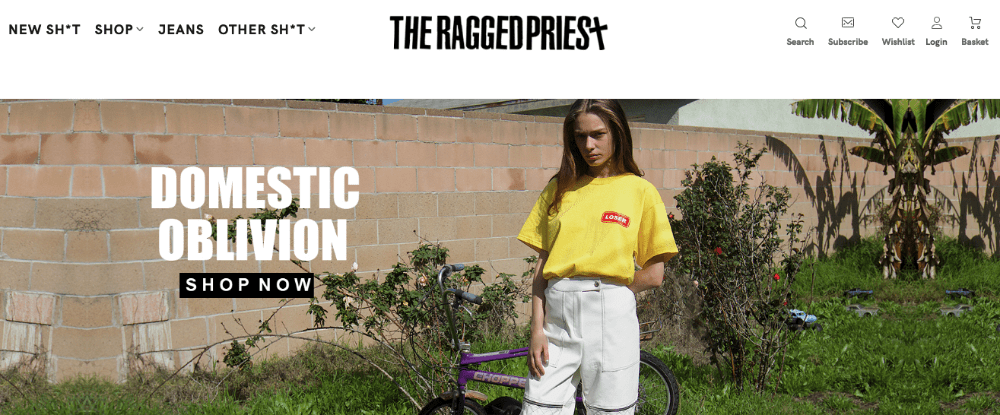 An example of a good brand name for an online clothing store the ragged priest