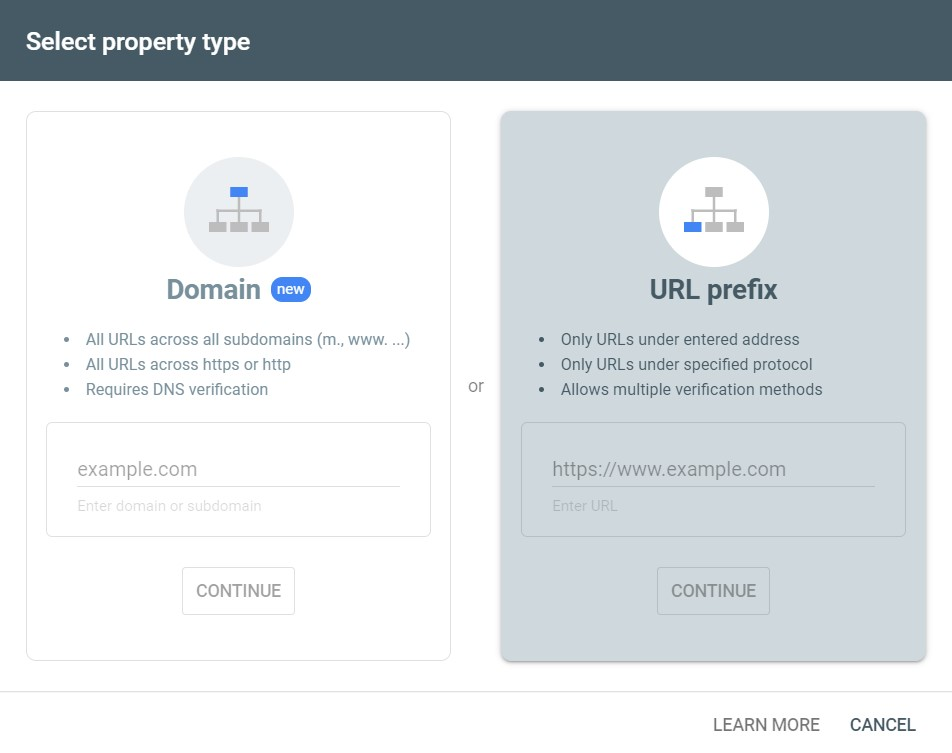 Choose URL prefix option