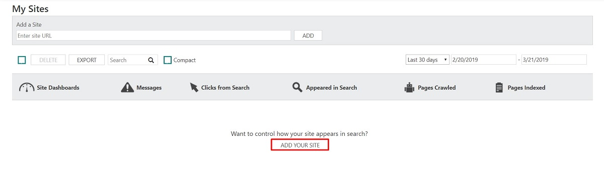 Adding site on Bing Webmaster Tools