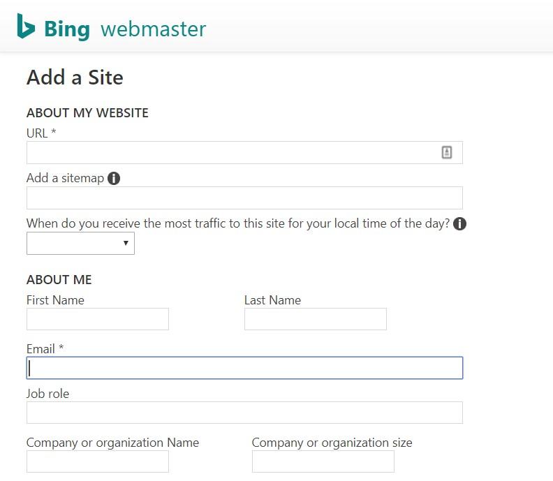 Website's Information on Bing Webmaster Tools