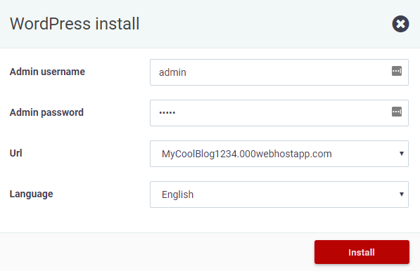 Set the login info for WordPress admin page on 000webhost