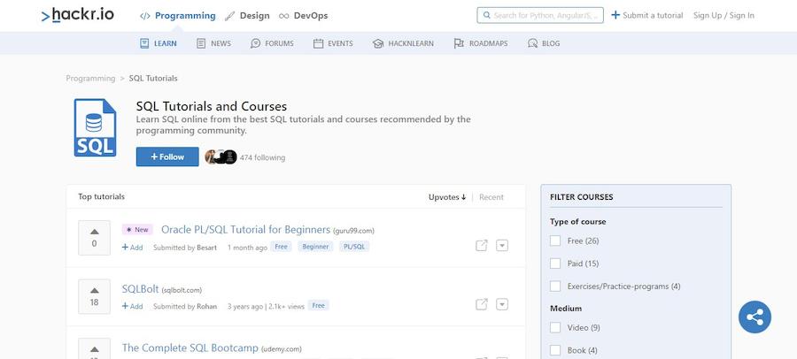 hackr.io-sql-courses-and-tutorials