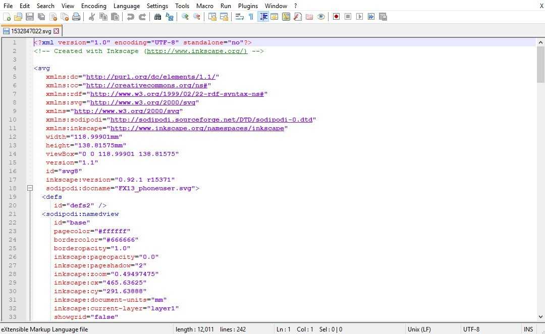 svg file viewed in notepad++