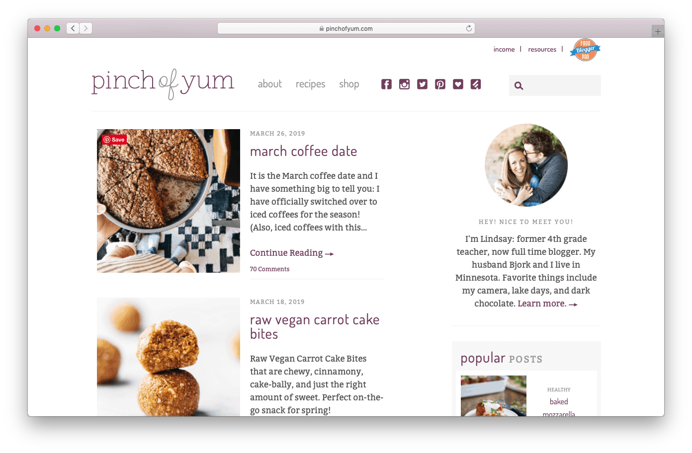 Pinch of Yum is a Great Food Blog