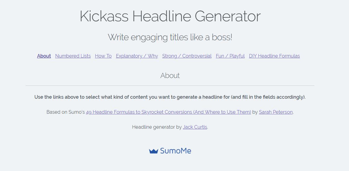 Kickass Headline Generator Homepage