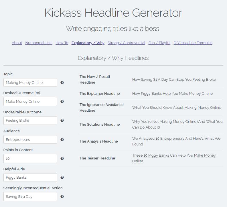 Kickass Headline Generator Parameters