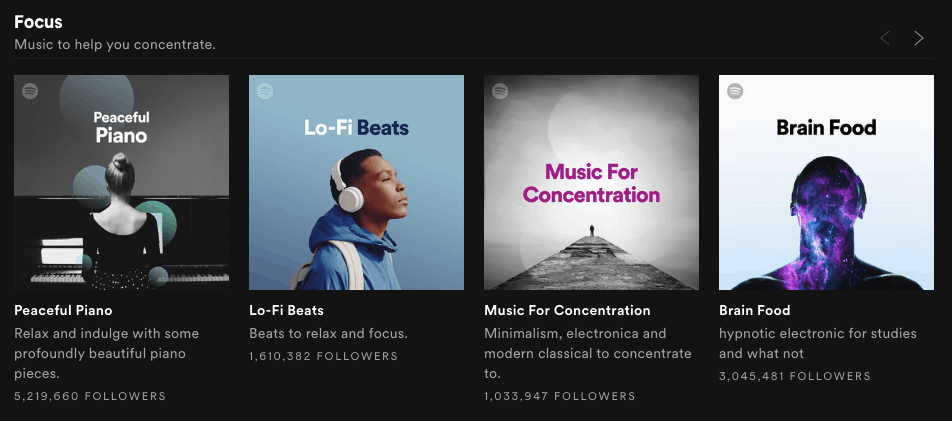 Listening to music on Spotify to get writing inspiration